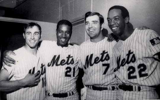7/9/69 Playing prominent roles in the Mets' big win were, left to right: Ken Boswell, Cleon Jones, Ed Kranepool and Donn Clendenon.
