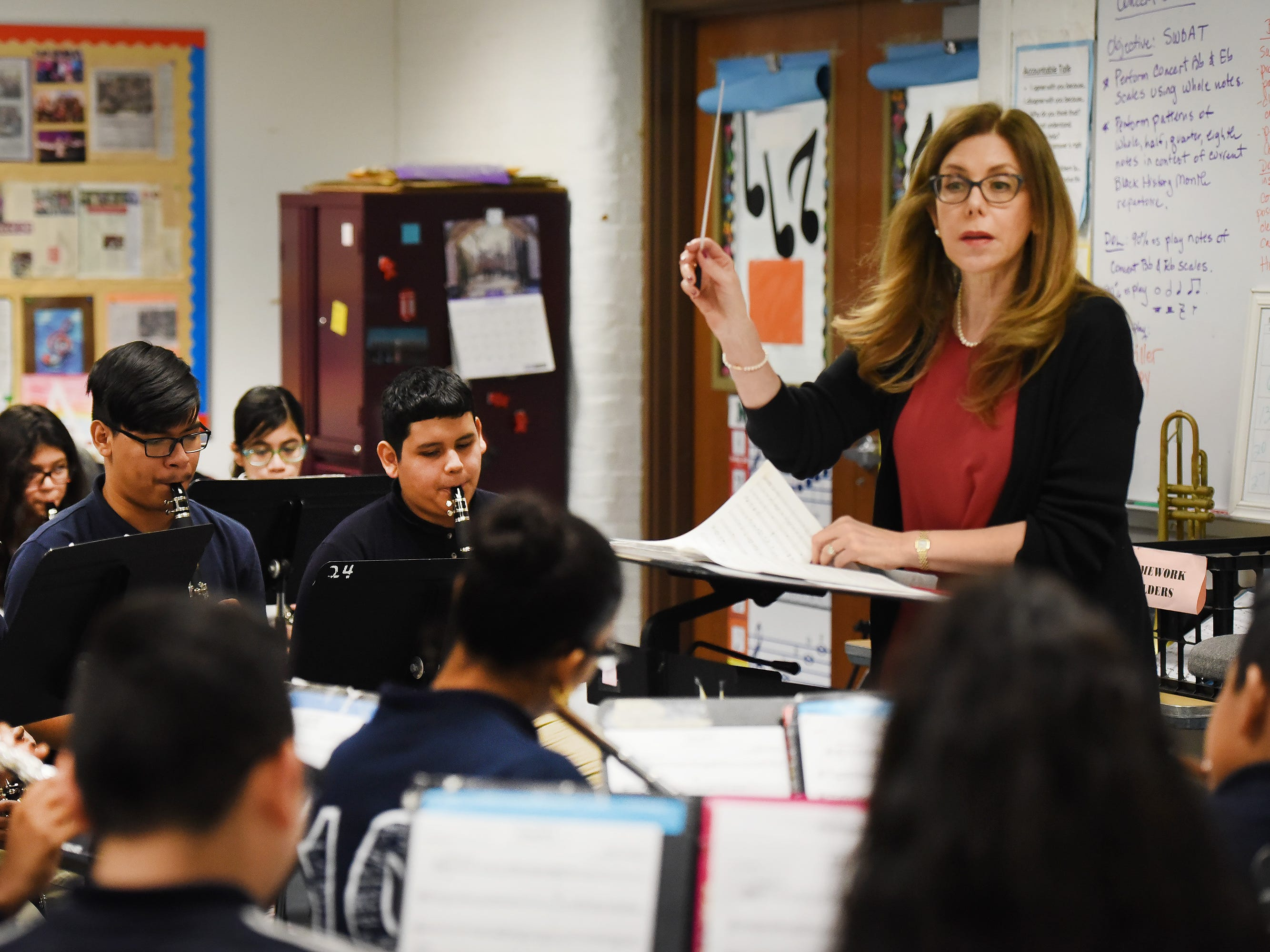 Band Director Nancy Horowitz leads the students during a music class at School #24 in Paterson on 01/09/19.