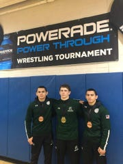 Connor O'Neil (center) along with Ricky Cabanillas (left) and Nicky Cabanillas, all of whom earned a medal at Powerade tournament for DePaul.