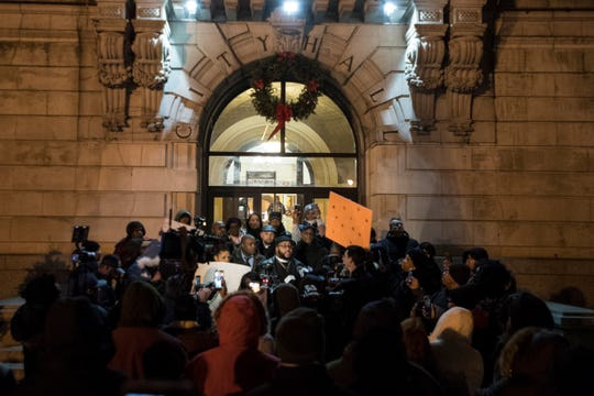 People rally outside Paterson City Hall on Wednesday, January 9, 2019, in the wake of the death of Jameek Lowery. The 27-year-old Paterson man died Monday morning, days after he recorded a frantic video at the city's police headquarters during which he said people — including police officers — were trying to kill him.
