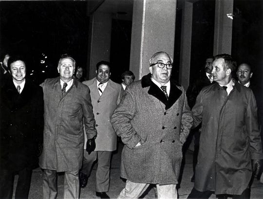Dec. 22, 1976:  Burrell Ives Humphries, second from left, and Vincent DeSimone, second from right, after their victory in the second trial of Carter and Artis.
