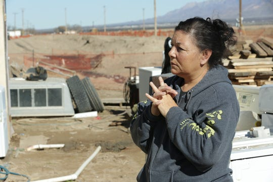 Rosa Fierro, a resident whose home is yards from the site of a burst gasoline pipeline, on Monday, Jan. 7, 2018 discusses the Dec. 13 incident and an evacuation that occurred afterward. The spilled gasoline was largely contained in an irrigation ditch. While much was recovered and hauled away afterward, a portion seeped into the ground, causing a persistent odor to remain.