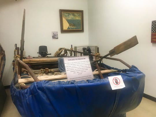 In this Nov. 29, 2018 photo, a raft made out of scrap metal and used by Cuban migrants in 1994 sits at the U.S. Border Patrol Museum in El Paso.