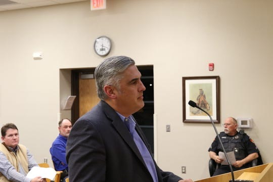 Michael Hilfinger, real estate manager for Occidental Petroleum speaks before the Carlsbad City Council Tuesday night.