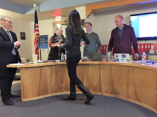 Gillian Baudo receives recognition from the ruidoso school board fro her service as secretary. Baudo will no longer be able to maintain her position as secretary. The board honored her for all of her hard work and dedication to the schools.