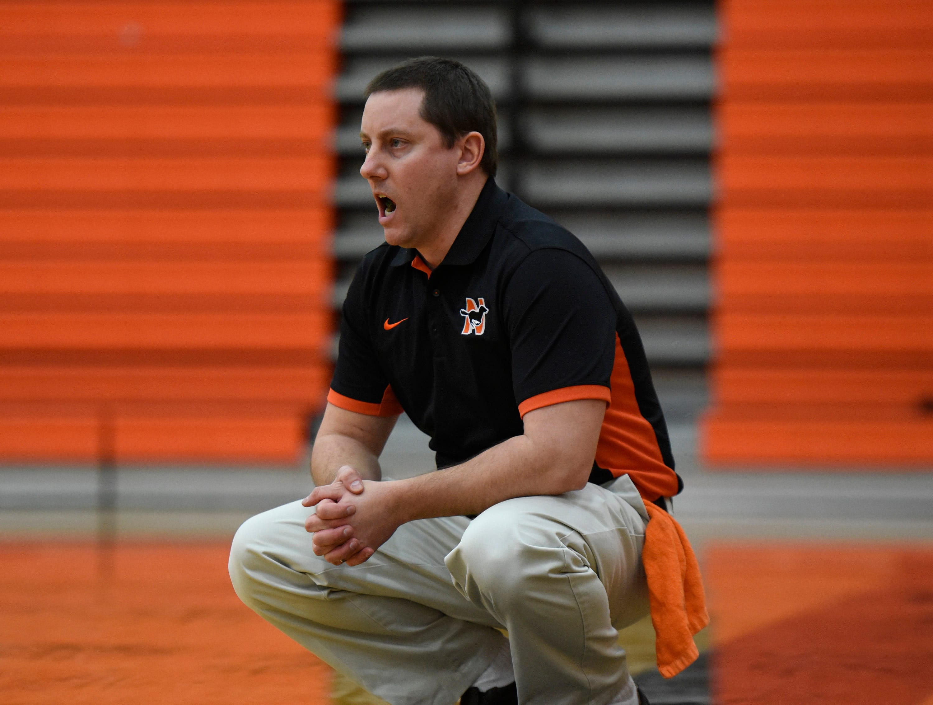 Northville's head coach Todd Gudith during a KLAA match up between the Mustangs and Eagles at Northville Jan. 8, 2019