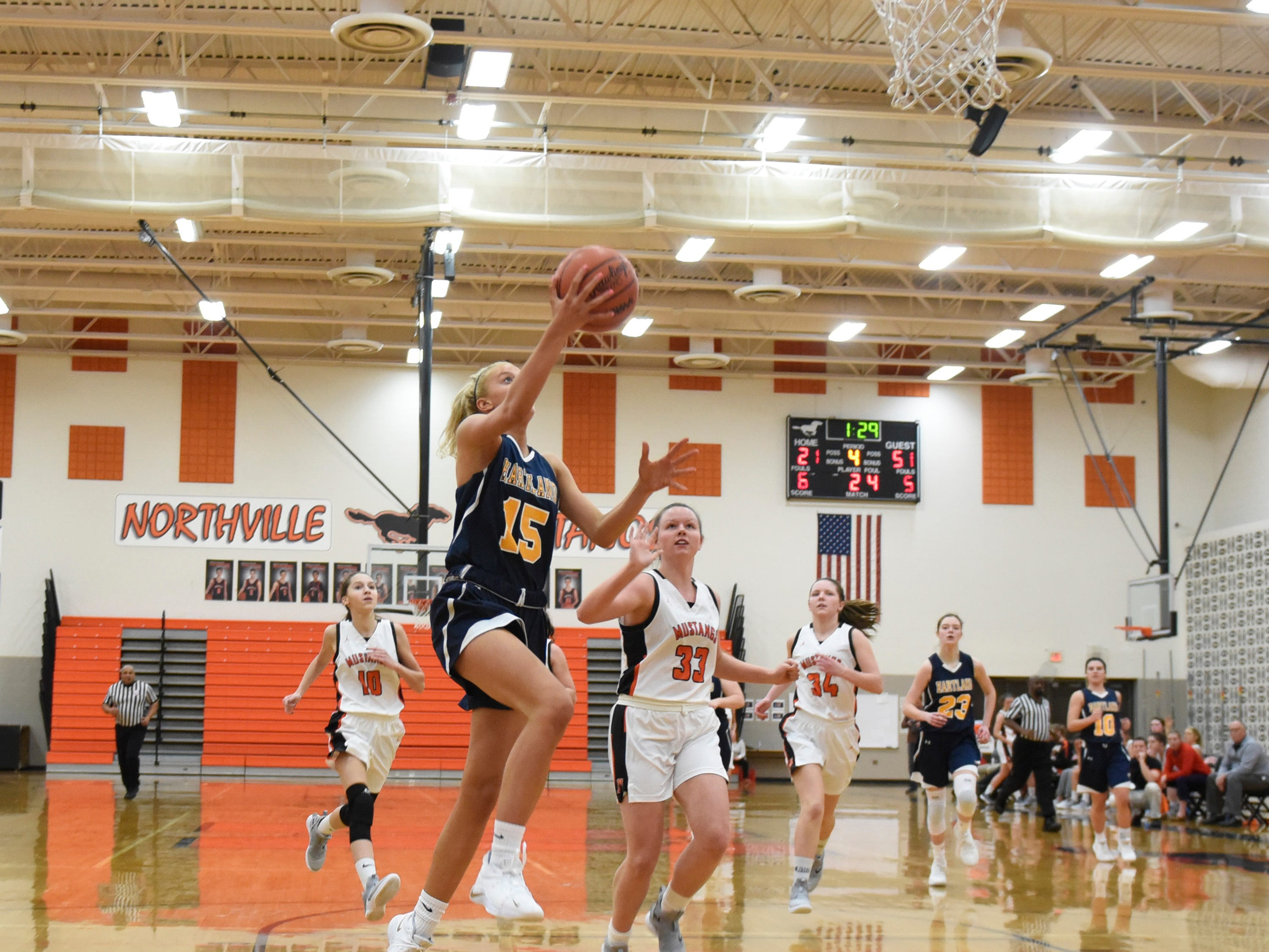 Hartland's Lauren Sollom (15) during a KLAA match up between the Mustangs and Eagles at Northville Jan. 8, 2019