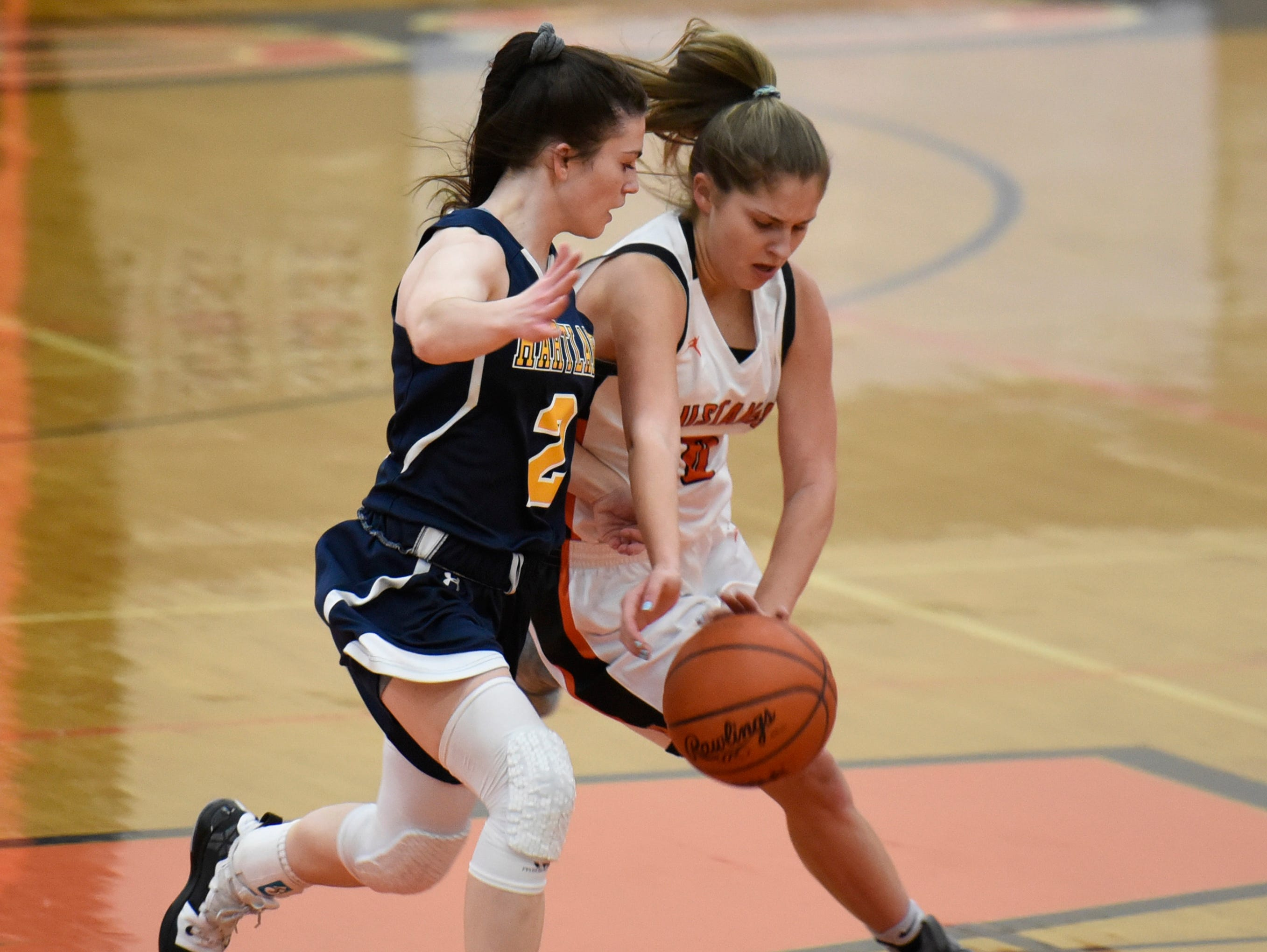 Hartland's Syd Caddell (2) and Northville's Lauren Marshall (0) during a KLAA match up between the Mustangs and Eagles at Northville Jan. 8, 2019
