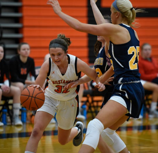Northville's Ellie Thallman (32) tries to drive on Hartland's Whitney Sollom (25) during a KLAA matchup on Jan. 8, 2019.