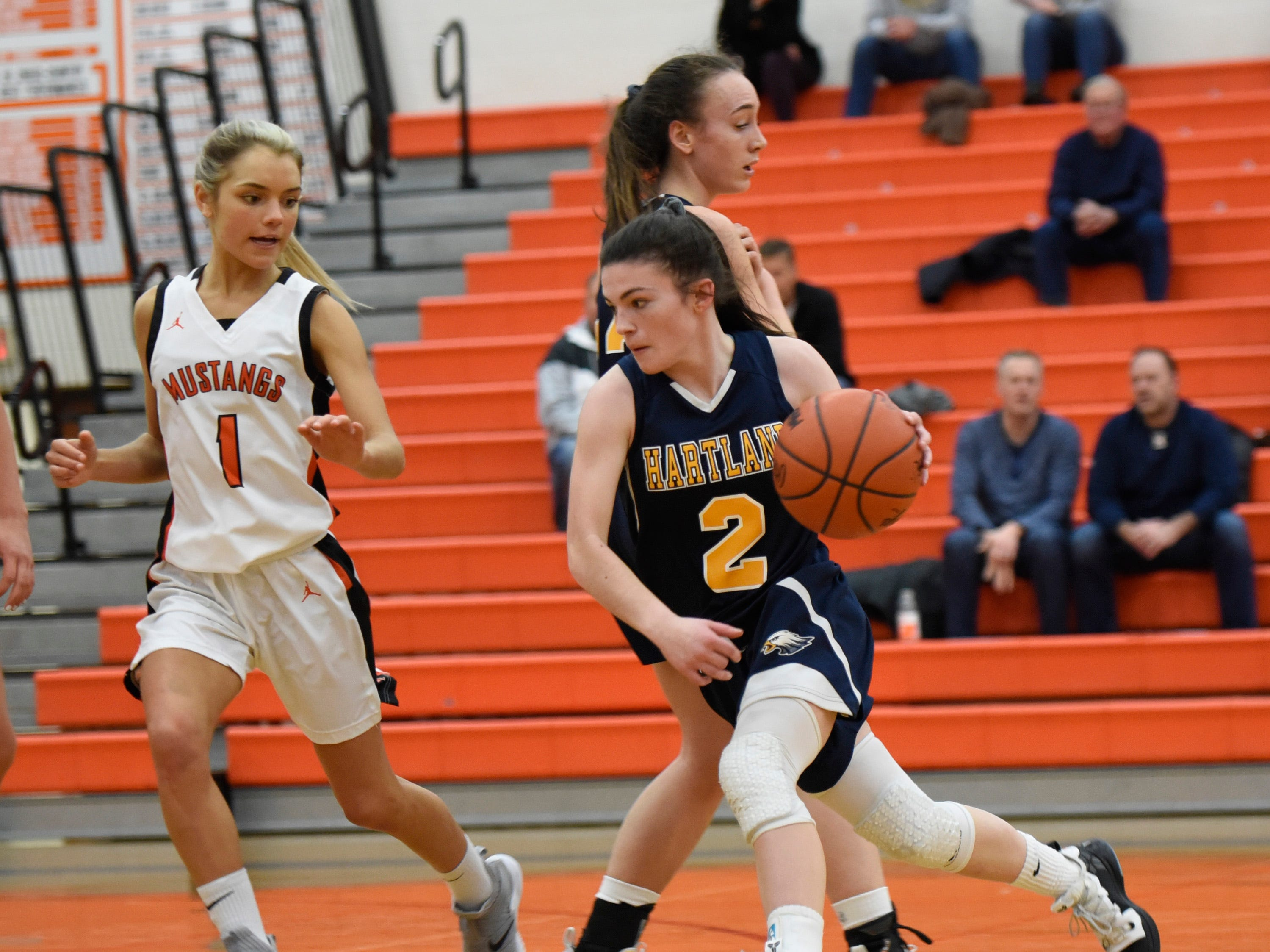 Hartland's Syd Caddell (2) and Northville's Jenna Lauderback (1) during a KLAA match up between the Mustangs and Eagles at Northville Jan. 8, 2019