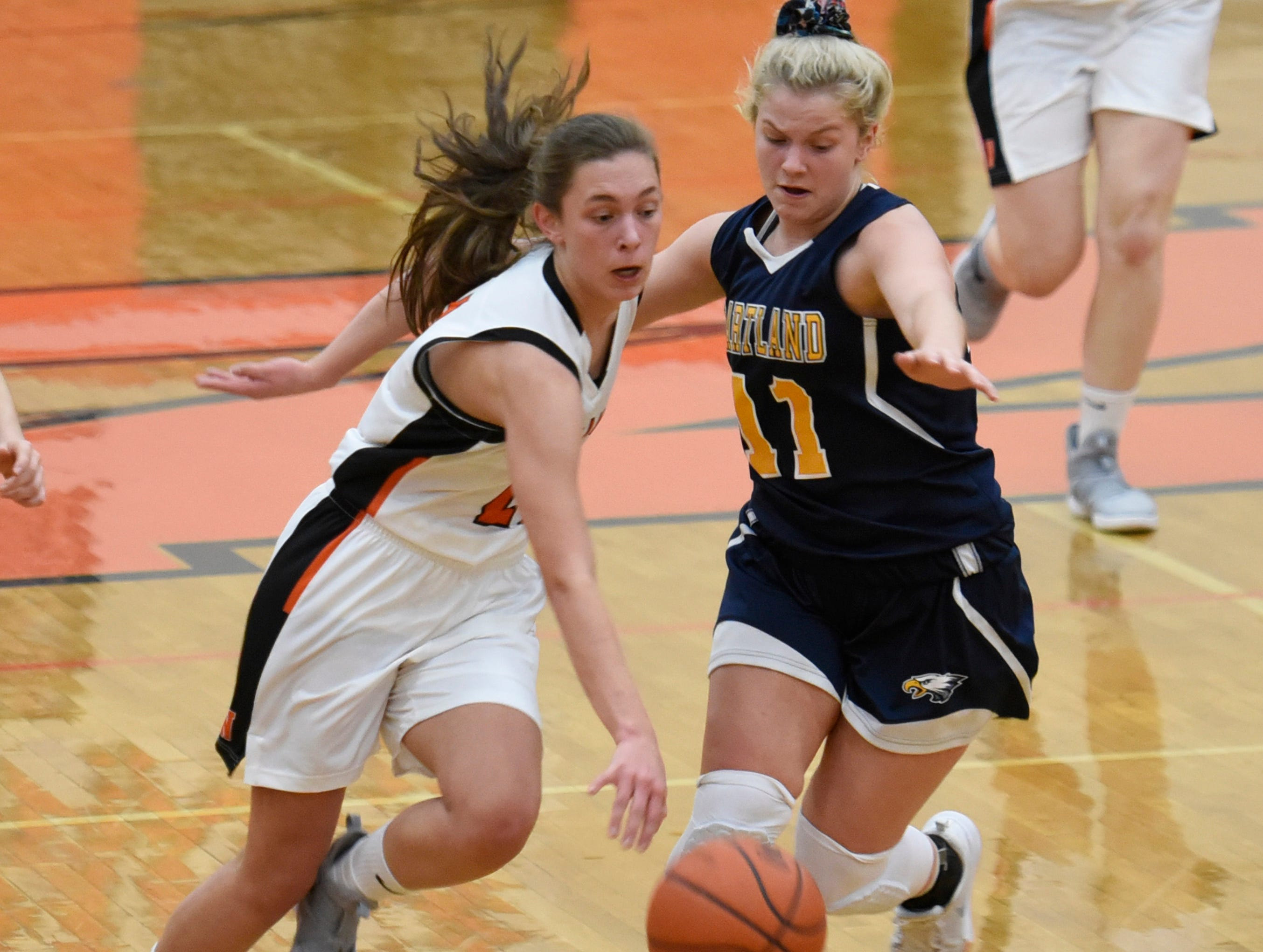 Northville's Sophia Jeromsky (21) and Hartland's Amanda Roach (11) during a KLAA match up between the Mustangs and Eagles at Northville Jan. 8, 2019