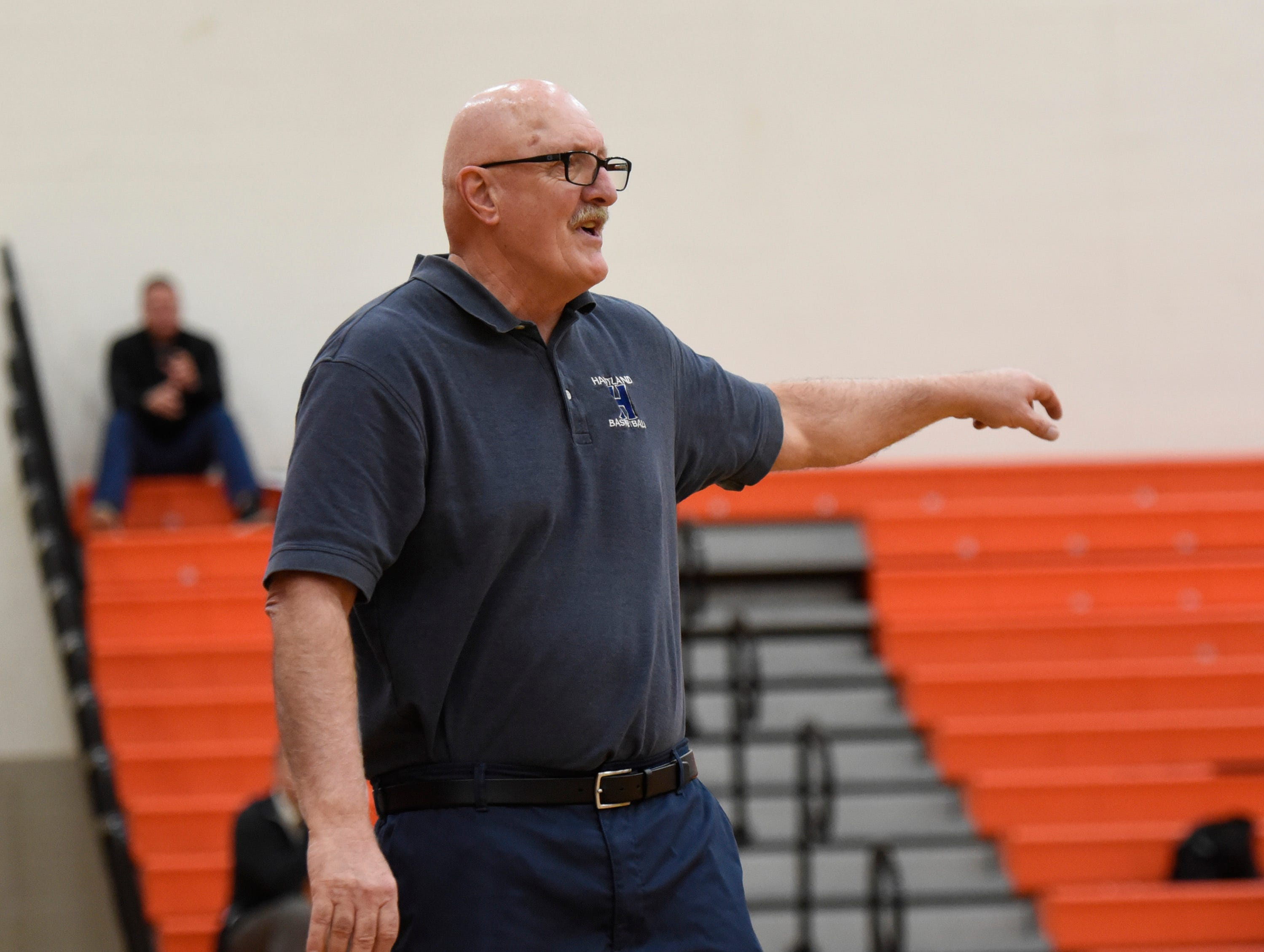 Hartland's head coach Don Palmer during a KLAA match up between the Mustangs and Eagles at Northville Jan. 8, 2019