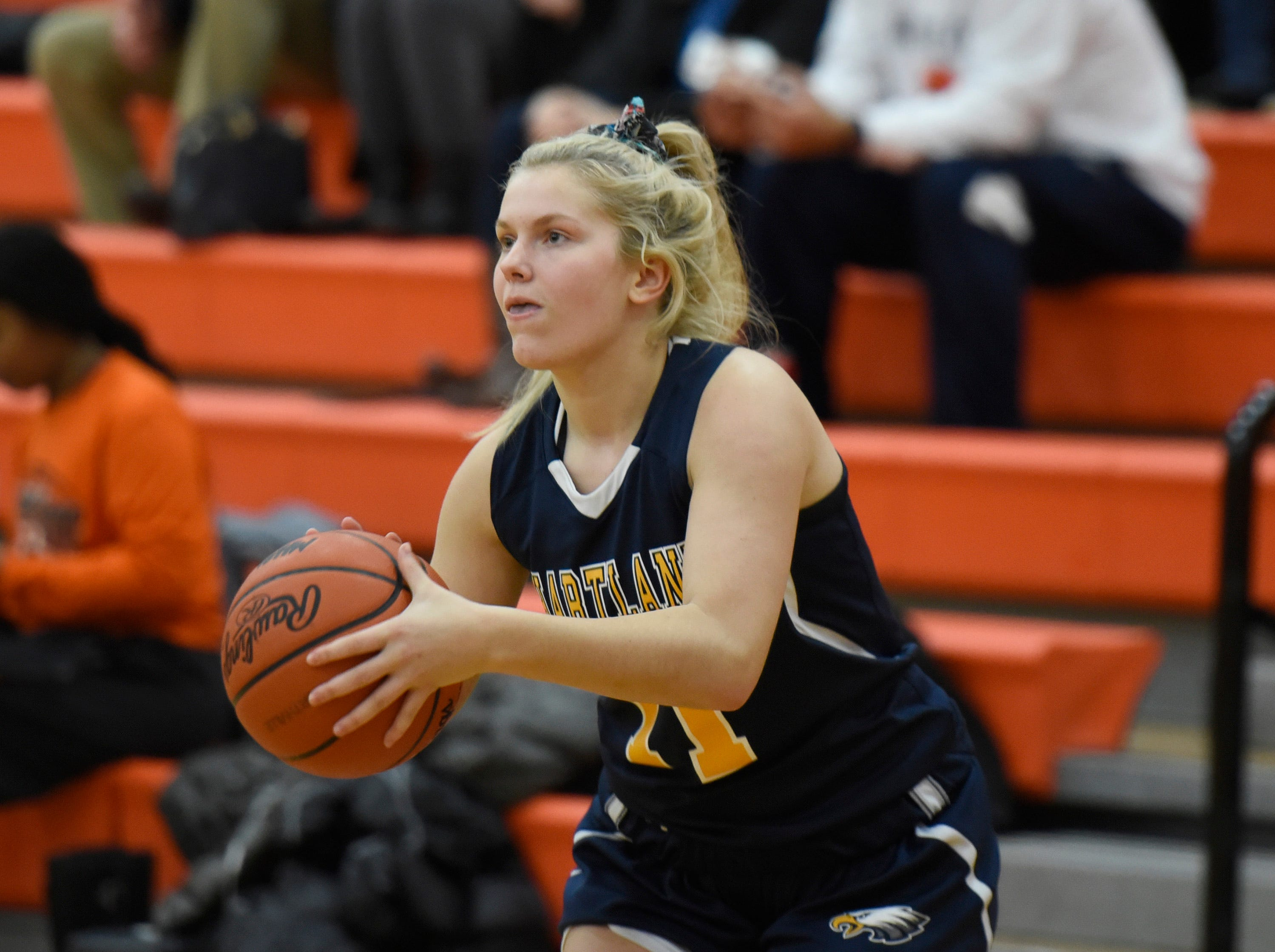 Hartland's Tess Klavon (21) during a KLAA match up between the Eagles and Mustangs at Northville Jan. 8, 2019