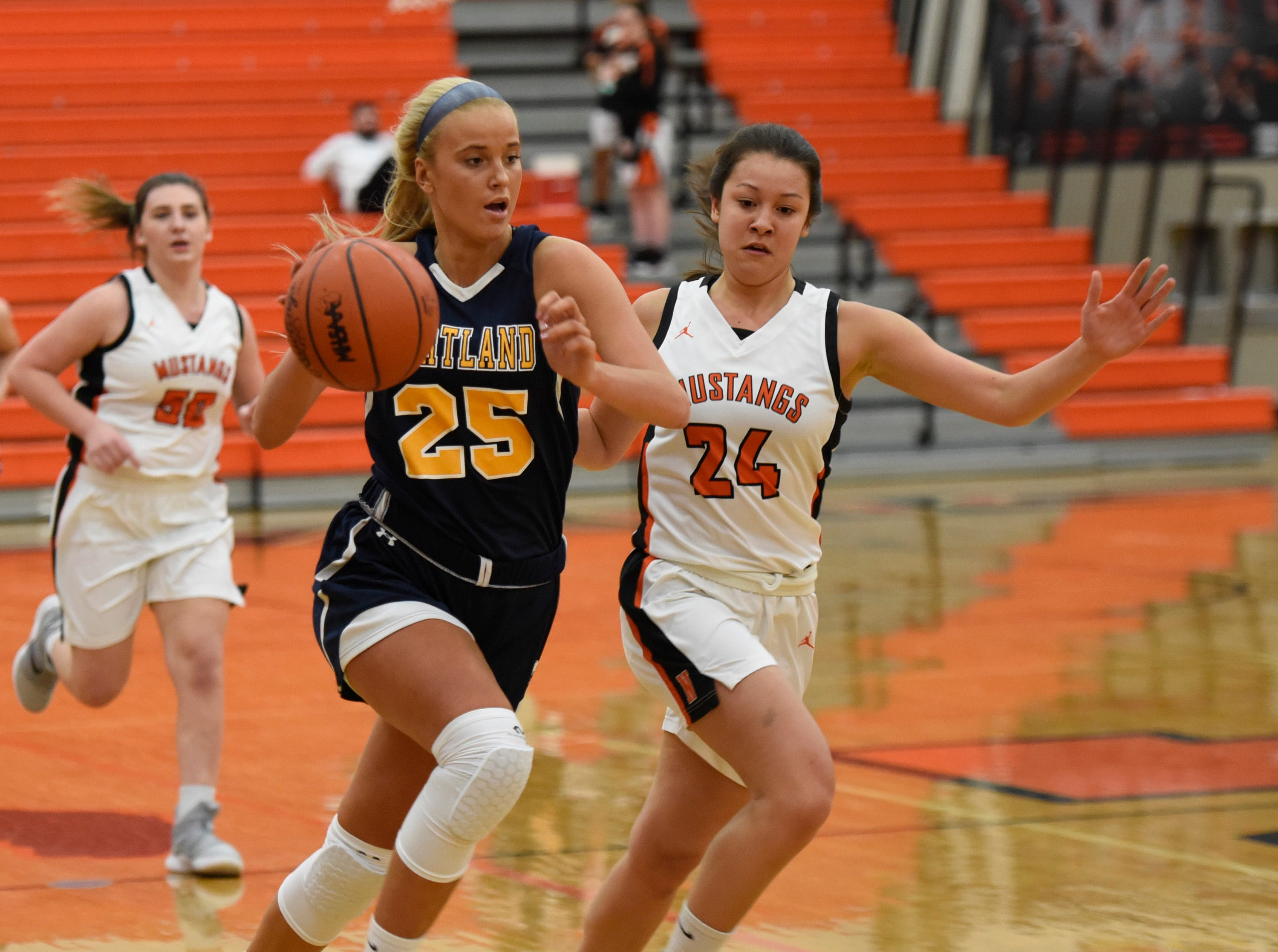 Hartland's Whitney Sollom (25) and Northville's Nicole Martin (24) during a KLAA match up between the Mustangs and Eagles at Northville Jan. 8, 2019
