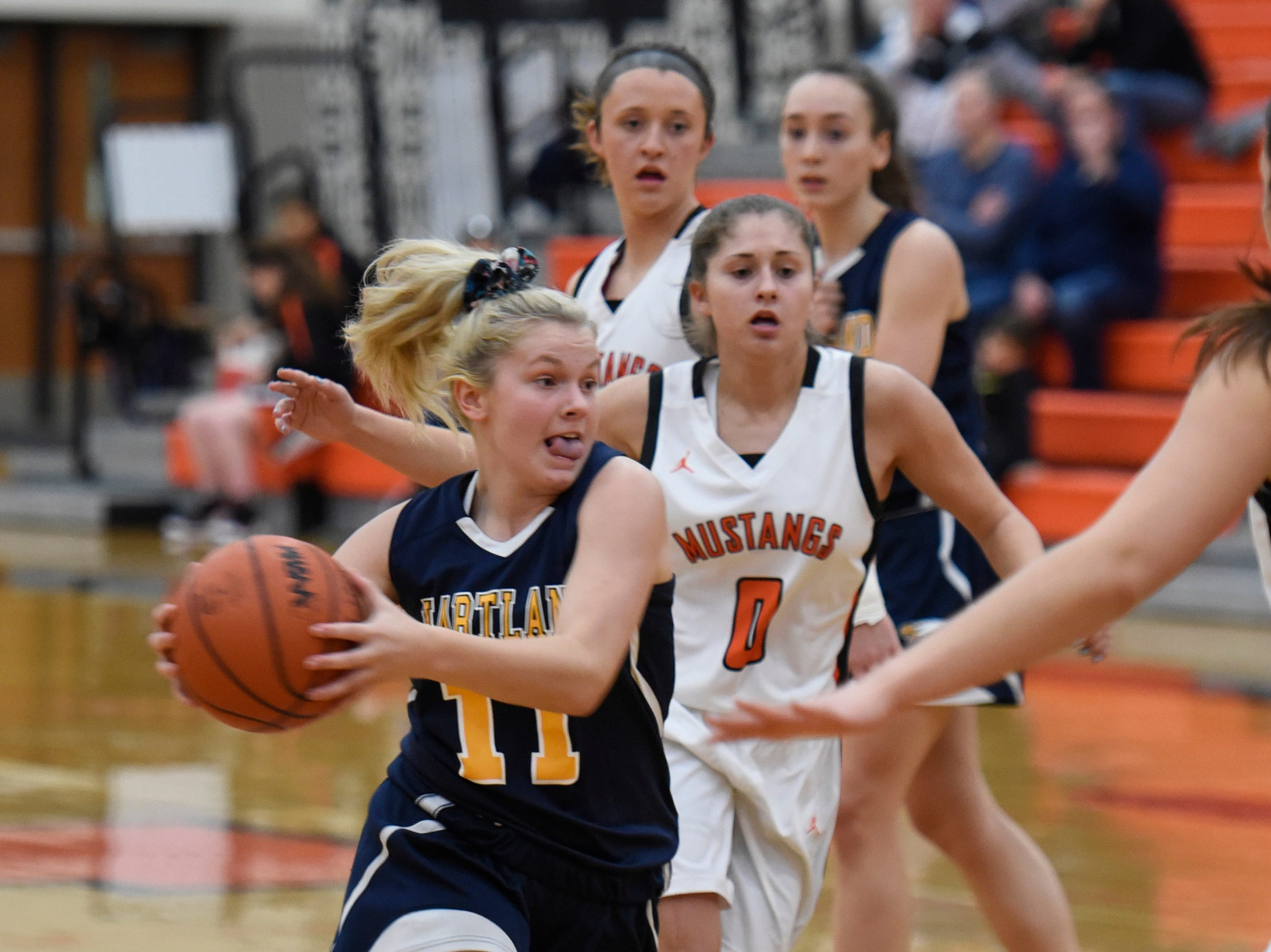 Hartland's Amanda Roach (11) during a KLAA match up between the Mustangs and Eagles at Northville Jan. 8, 2019