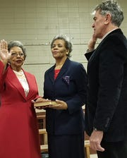 Melville Mayor Velma D. Hendrix is sworn in by St. Landry Parish Clerk of Court Charles Jagneaux during swearing in ceremonies recently held in . Melville. Also pictured is Sheila Hendrix.