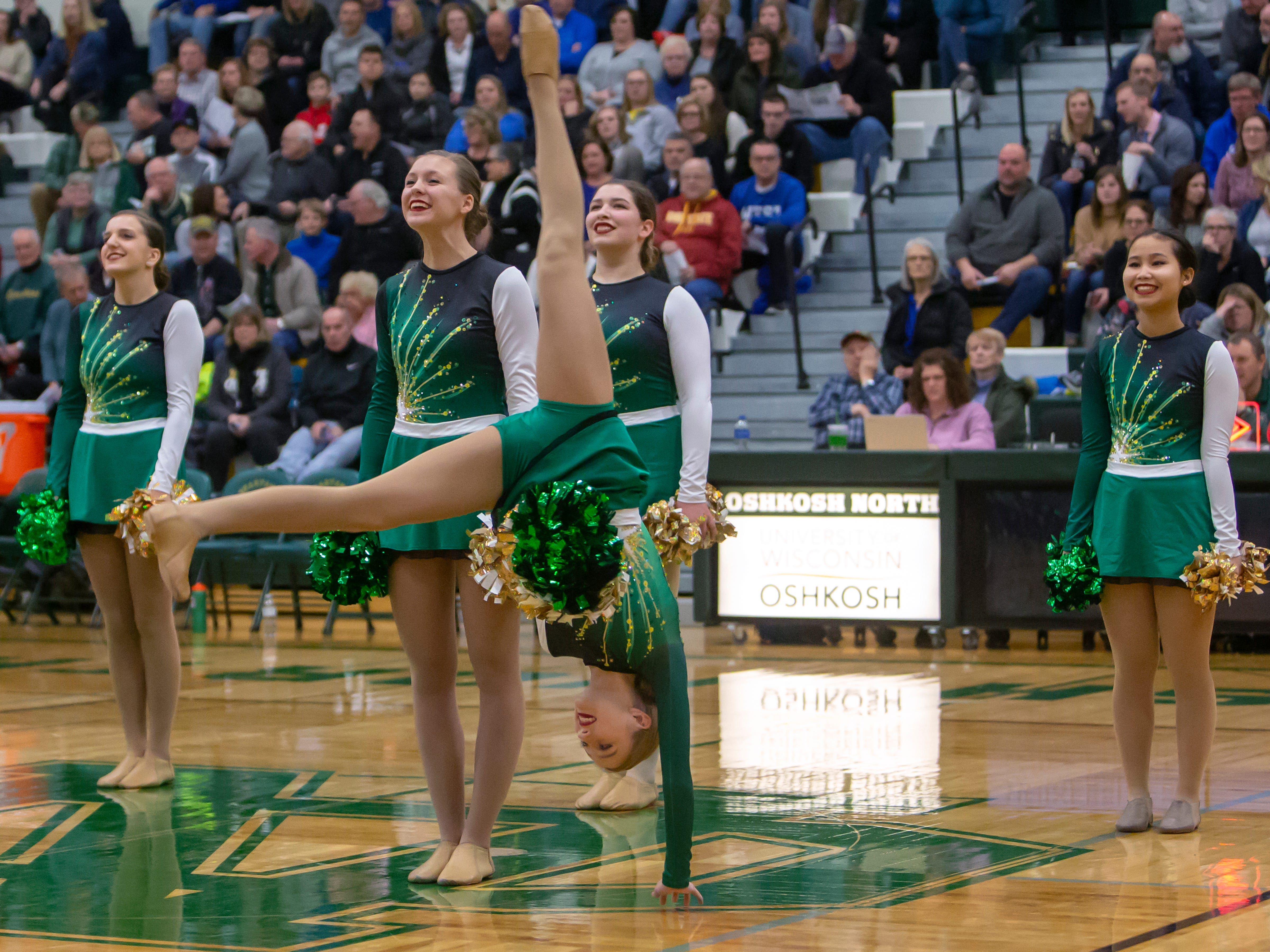 Oshkosh North dance team performs during halftime at the Oshkosh North High School on Tuesday, January 8, 2019.