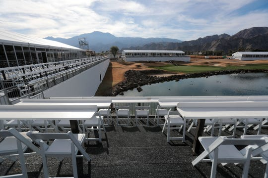 The grand stand on 18 is almost ready for the Desert Classic golf tournament later this month. Photo taken on Tuesday, January 8, 2019 in La Quinta.