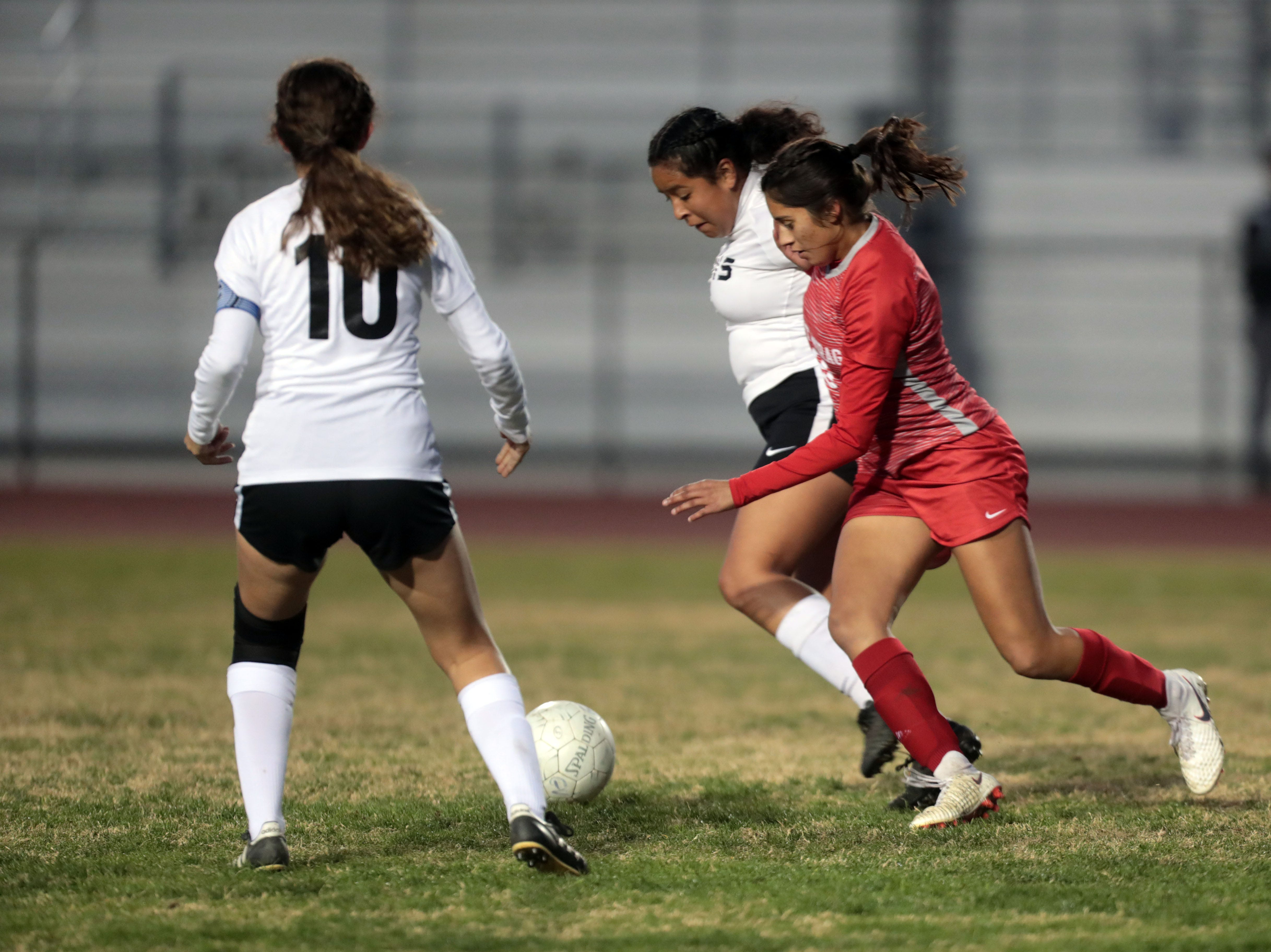 Cathedral City and Desert Mirage soccer action on Tuesday, January 8, 2018 in Thermal.