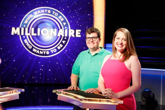 """Pensacola's Brooke Fleming, right, will appear as a contestant on an episode of """"Who Wants to Be a Millionaire?"""" that airs Thursday. Her brother, Brett Fleming, accompanied her to the taping of the show in July in Las Vegas."""