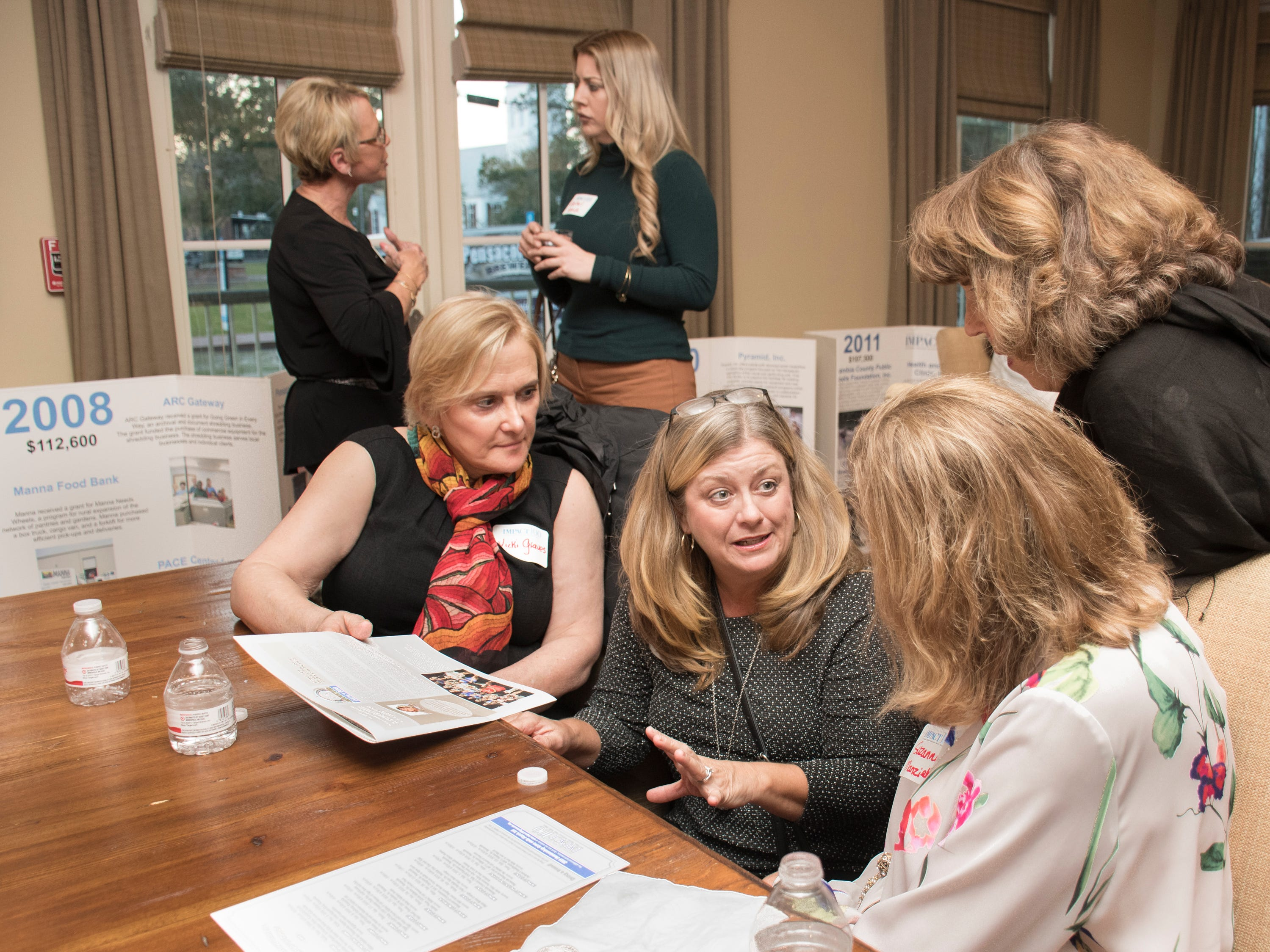 Vickie Graves, from left, Susan Bonsignore, Mary Bryan, and Suzanne Manziek chat during the Impact 100 Pensacola Bay Area meeting at the Lee House in Pensacola on Tuesday, January 8, 2019.