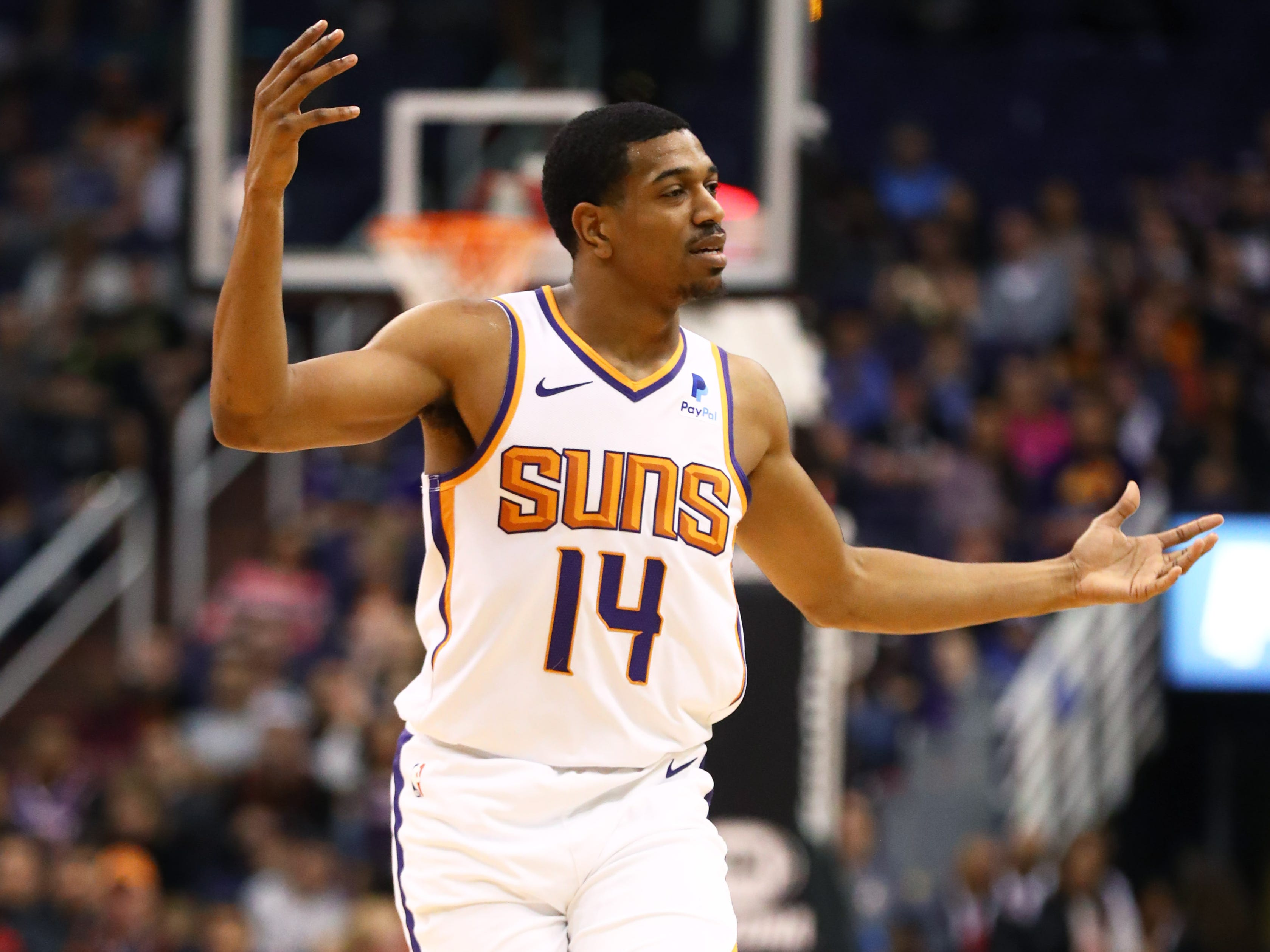 Jan 8, 2019; Phoenix, AZ, USA; Phoenix Suns guard De'Anthony Melton reacts in the first quarter against the Sacramento Kings at Talking Stick Resort Arena. Mandatory Credit: Mark J. Rebilas-USA TODAY Sports