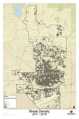 This map shows the density of water-main breaks in Phoenix.