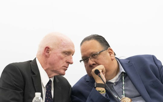 Rep. Russell Bowers (left) and Gila River Indian Community Gov. Stephen Roe Lewis talk about the Colorado River drought plan, during a meeting at the Central Arizona Project Headquarters in Phoenix.