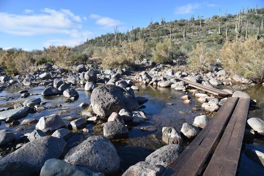 Plank bridges aid creek crossings.