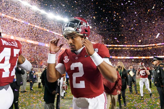 Alabama Crimson Tide quarterback Jalen Hurts (2) reacts after the 2019 College Football Playoff Championship game against the Clemson Tigers at Levi's Stadium.