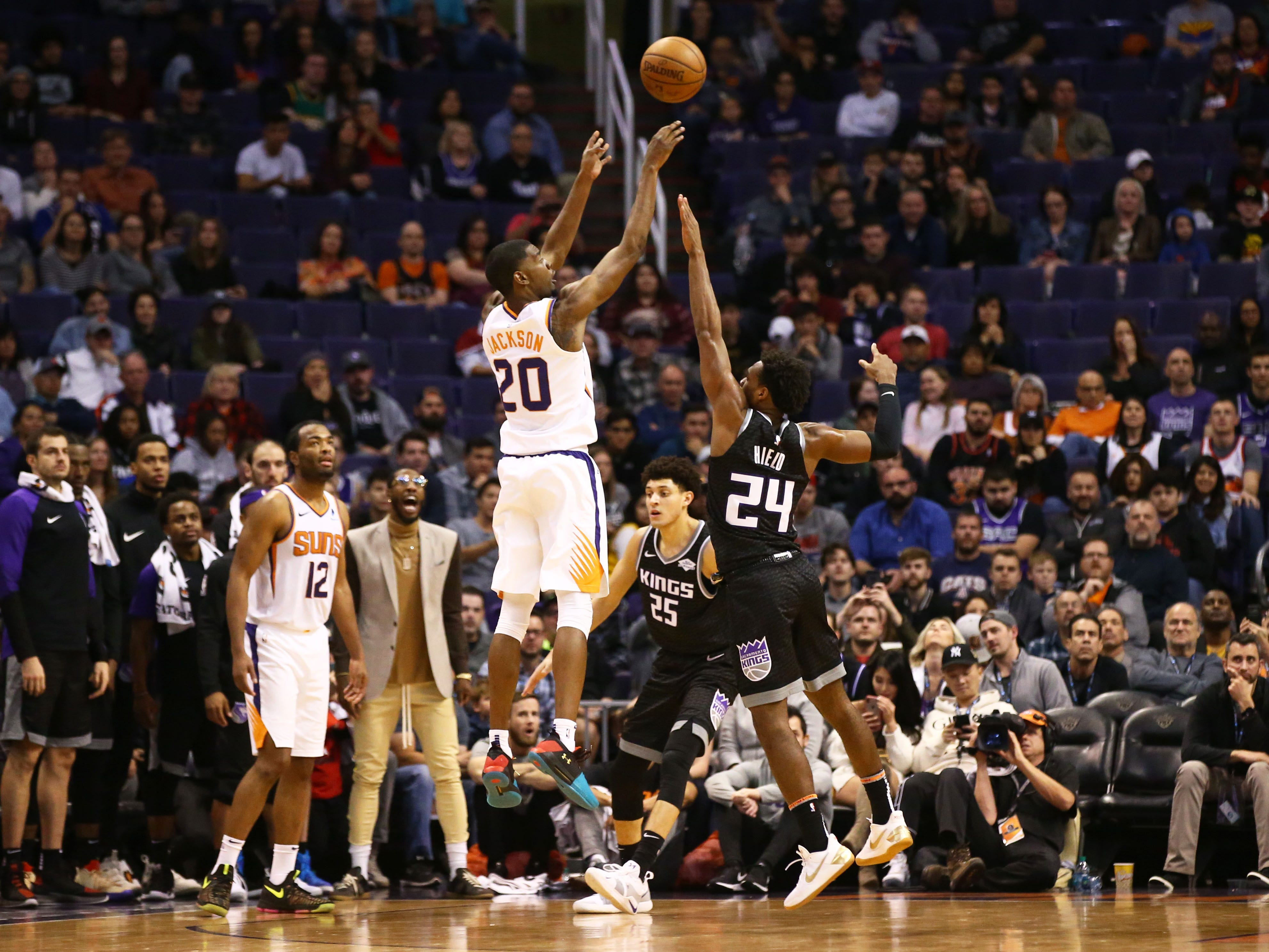 Phoenix Suns forward Josh Jackson makes a basket against the Sacramento Kings in the second half on Jan. 8 at Talking Stick Resort Arena.