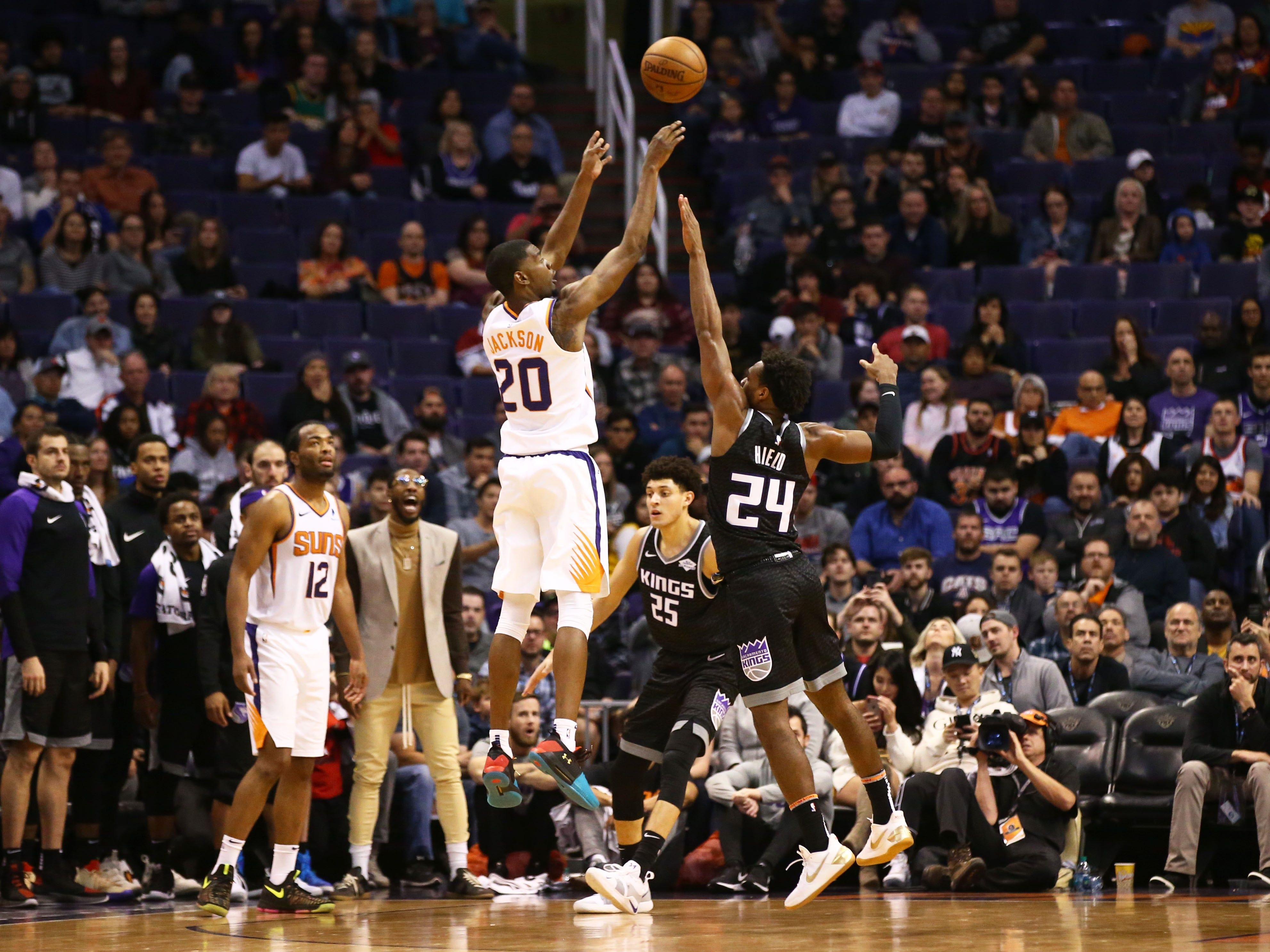 Phoenix Suns forward Josh Jackson makes a basket against the Sacramento Kings in the second half on Jan. 8 at Talking Stick Resort Arena.