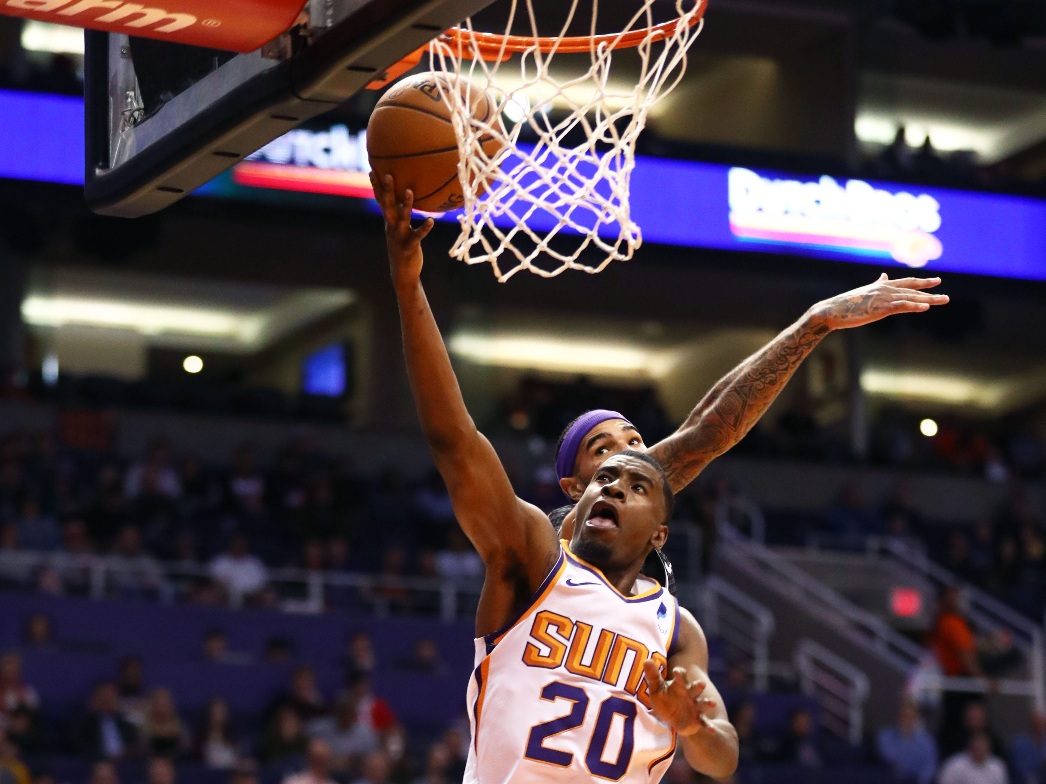Jan 8, 2019; Phoenix, AZ, USA; Phoenix Suns forward Josh Jackson drives to the basket against the Sacramento Kings in the first half at Talking Stick Resort Arena. Mandatory Credit: Mark J. Rebilas-USA TODAY Sports