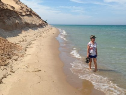 Kathleen Toupkin at her favorite national park site, Sleep Bear Dunes National Lakeshore in Michigan. There's great hiking and canoeing - and wineries nearby.
