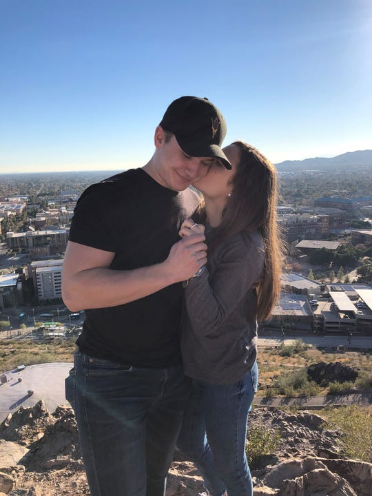 Brinson Pasichnuk and Halle Johnson are juniors at Arizona State, playing hockey and volleyball. They became engaged Jan. 3 and plan to marry in May or June 2020.