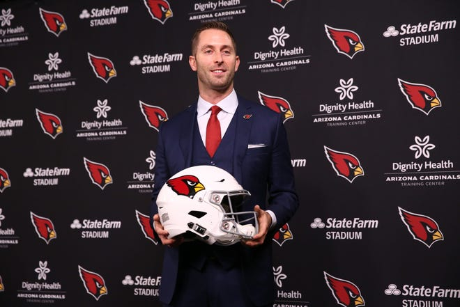 Arizona Cardinals introduce their new head coach Kliff Kingsbury during a news conference on Jan. 9, 2019 at the Cardinals Training Facility in Tempe, Ariz.