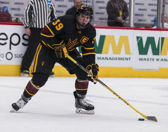 Junior defenseman Brinson Pasichnuk is captain for No. 13 ASU hockey and second in the team in points.