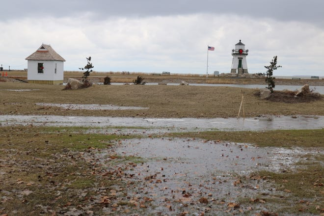 Port Clinton city officials are addressing the issue of standing water at the recently landscaped area around Derby Pond at Waterworks Park.