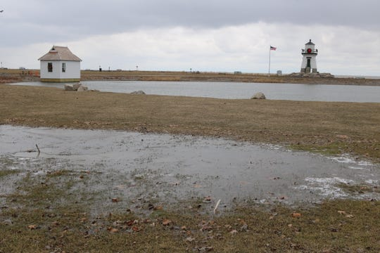 One unintended result of the landscaping project around Derby Pond near the Port Clinton Lighthouse was standing water, which officials are hoping to fix soon.