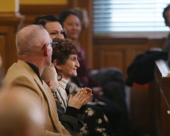 Kathy Calenti beams at her son Chezzy Calenti as he attends the graduation ceremony for the Dutchess County Court Judicial Diversion Program in the City of Poughkeepsie on January 9, 2019.