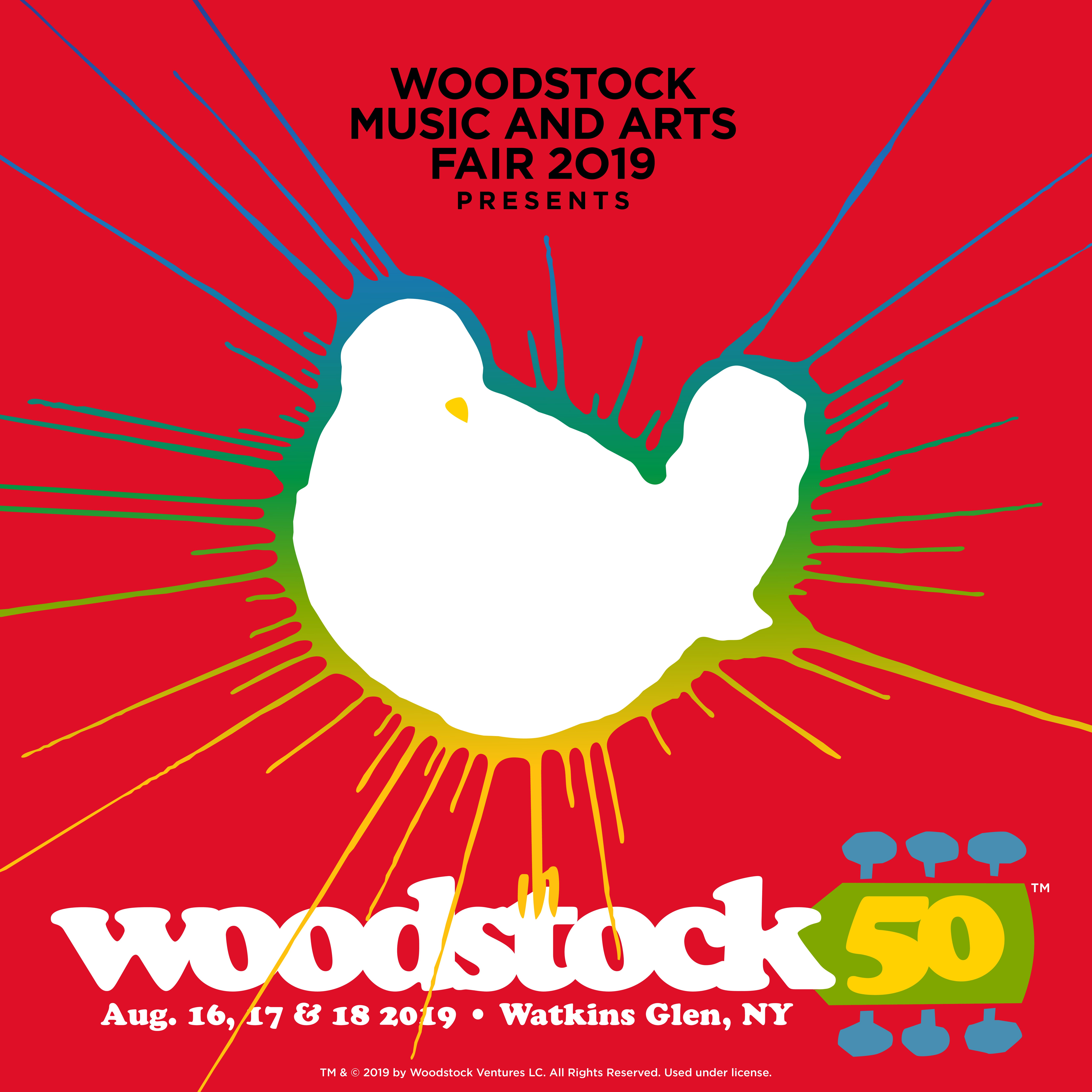 The logo for the Woodstock 50 anniversary concert.