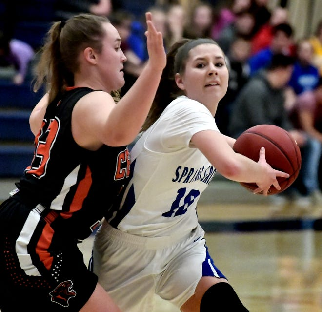 Spring Grove's Ellie Glass drives with Central York's Sarah Berman defending during basketball action at Spring Grove Tuesday, Jan. 8, 2019. Bill Kalina photo