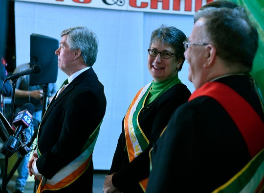 Mary Yeaple, left, looks to son Jay and husband Rodney as they are announced as the Grand Marshal family for the 36th Annual York Saint Patrick's Day Parade, Wednesday, January 9, 2019. The parade will be held Saturday, March 16. John A. Pavoncello photo