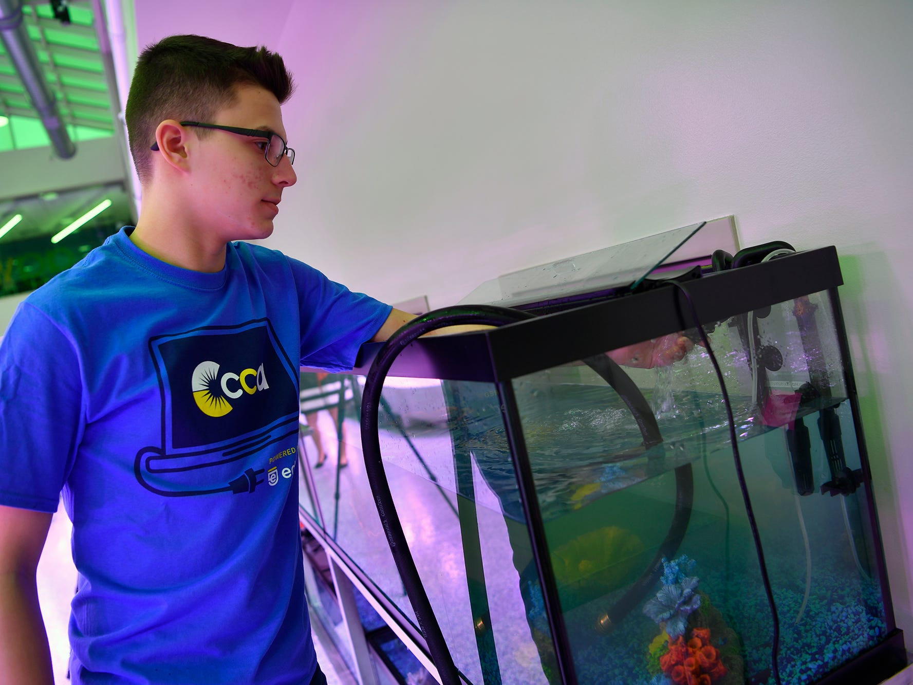 Nathaniel Saxe, a CCA junior from Springettsbury Township, fills fish tanks for tilapia fry at the Agworks aquaponics facility in Harrisburg, Tuesday, January 8, 2019.  