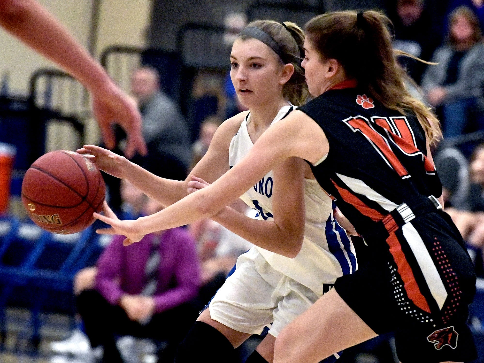 Spring Grove's Addyson Wagman drives with Central York's Zada Stockbower defending during basketball action at Spring Grove Tuesday, Jan. 8, 2019. Bill Kalina photo