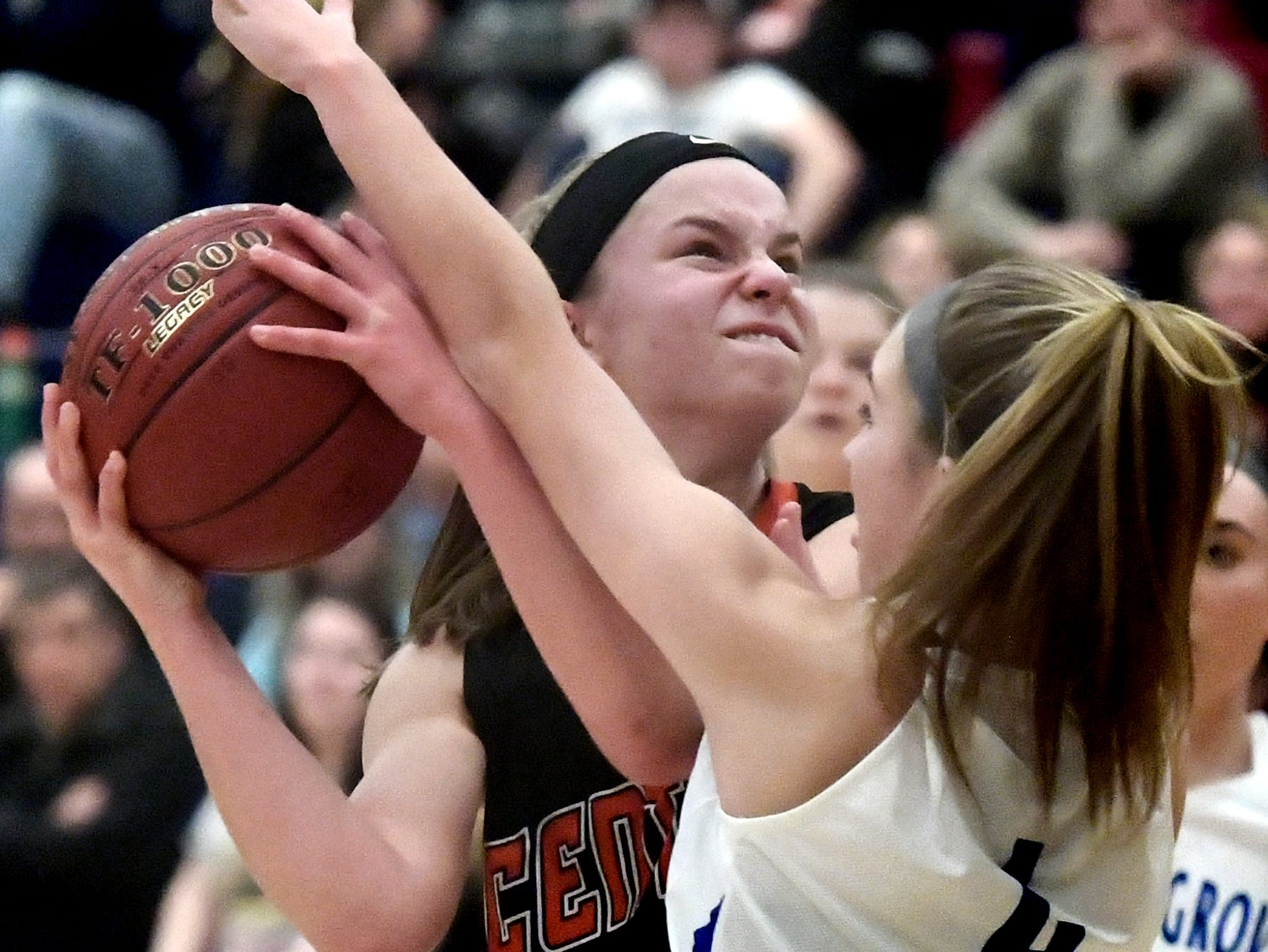 Central York's Sarah Berman is pressured by Spring Grove's Addyson Wagman in basketball action at Spring Grove Tuesday, Jan. 8, 2019. Bill Kalina photo