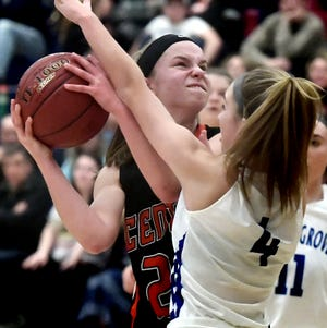 Central York's Sarah Berman, seen here at left in a file photo, scored 24 points on Saturday night to help Central York win a girls' basketball tip-off tournament at Penn Manor. Berman was named the event's MVP.