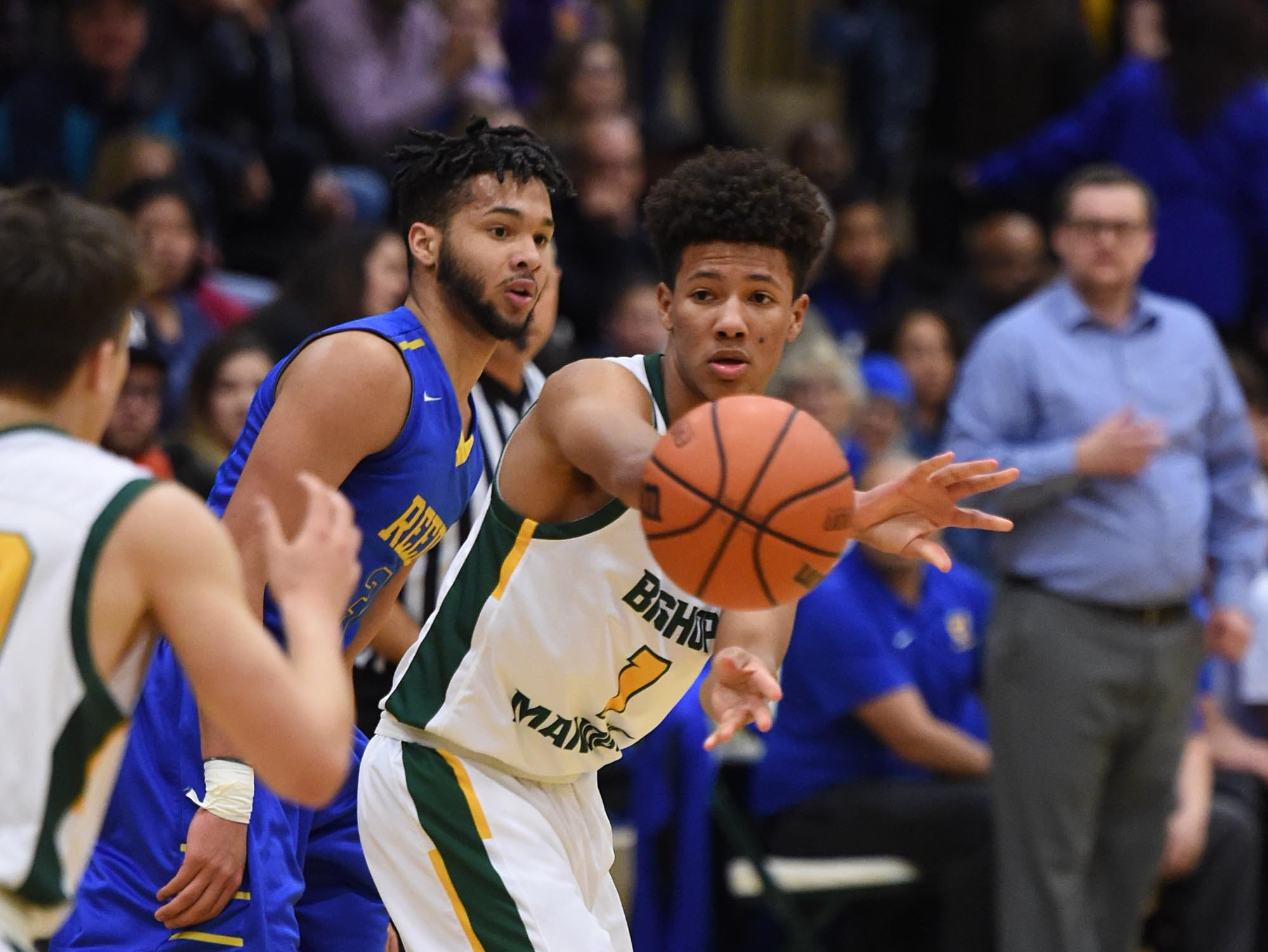 Action photos of the Reed at Bishop Manogue boys basketball game on Tuesday Jan. 8, 2019.
