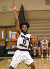 Spanish Springs' Dante Craig signals for the ball against Birminghan high during the first game of the 2018 Wild West Shoot Out at Bishop Manogue High School on Nov. 29.