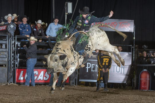 Mason Lowe rides Blowing Smoke of Humpz and Hornz / Sis 'N' Stan Bucking Bulls for 81.50 points during the Round 2( Short-Go ) of the PBR Velocity Tour event in Oakland last week.